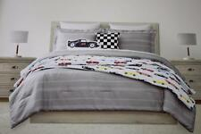 BOY ZONE RACING CAR TWIN COMFORTER SHAM PILLOWS COVERLET SET-MULTICOLOR-NEW-5PC
