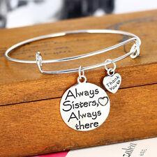 Charm Sister Silver Plated Pendant Bangle Bracelet Family Gift Love Heart New