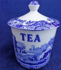 Spode Italian Blue and White Tea Caddy Canister Good Clean Useable Order 6.5 in