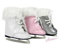 """Doll Clothes AG 18"""" Ice Skates Sport Shoes Silver Made To Fit American Girl Doll"""