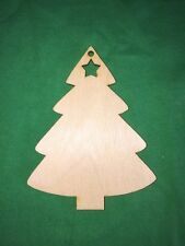 10 CHRISTMAS TREE with star  WOODEN SHAPES HANGING TAGS CRAFT EMBELLISHMENTS