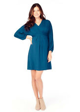 Ingrid & Isabel Maternity Effortless Long Sleeve Teal Blue Dolman Dress S 4/6