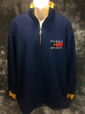 Tommy HIlfiger 1/4 Zip Sweater Men's Yellow/Blue XXL Great Cond. Vintage USA