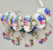 2p Silver Lampwork charm Bead Animal fit s925 European Charm Bracelet Chain y123
