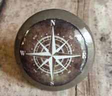 Handmade Nautical Birch Wood Brown Knob Drawer Pulls, Set of 4 Compass Knobs