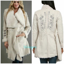 NWT BIYA JOHNNY WAS JWLA KARENINA Embroidered Faux Shearling Fur Jacket Coat M