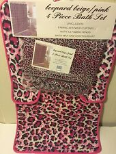 4pc Bath Rug Set Animal Pink LeopardPrint Bathroom Shower Curtain Mat/rings _@$$