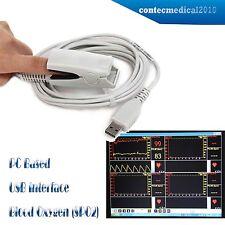 NUOVO SPO2 PR PC basato PORTA USB oximeter / Oxymeter, PC Software, CONTEC adulto Sonda