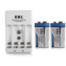 2x 9 Volt Ni-Mh Rechargeable battery + Charger For AA AAA 9V Ni-MH Ni-CD Replace