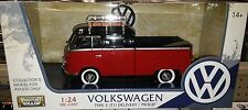 VW Bus Type 2 Volkswagen T1 Pickup Diecast 1:24 Motornmax 8 inch Red Roof Rack