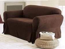 One  Piece  Brown Soft  Micro Suede Couch Sofa Slip Cover New