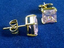 U10 Plum UK 7mm square white sapphires 18ct yellow gold gf stud earrings BOXED