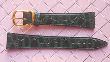 WATCH BAND BRACELET MONTRE CUIR VEAU  DOUBLE SYNDERME / VERT  / 18mm  REF.KD20