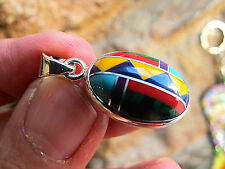 INLAY ZUNI NATIVE AMERICAN INDIAN SILVER 925 STAMPED PENDANT 20X13X6 MMS 2g