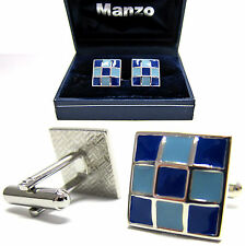 New Men's Cufflinks Cuff Link Square Enamel Wedding Formal Prom 2 Tone Blue #14
