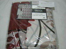 3 PC Victoria Classics DESSA Shower Curtain and Hand Towels Set - Rust, Black
