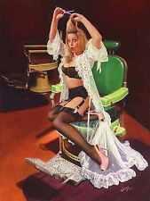 SHEER DELIGHT Vancas Girl PinUp Elvgren style SHEER SEE THROUGH LINGERIE BARBER
