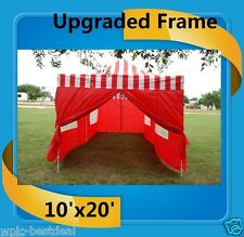 10'x20' Pop Up Canopy Party Tent EZ - Red Stripe - F Model Upgraded Frame