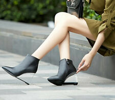 Women's Pumps Clear Wedge High Heel Pointy Toes Zip Party Fashion Ankle Boots Sz