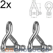 2x 8mm Twisted Pattern D Shackle Stainless Steel (Dee Shackle, Boat Shackle)