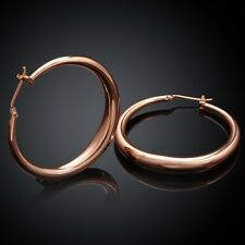 18K Rose Gold Latch Back Hoop Bali Earrings L124