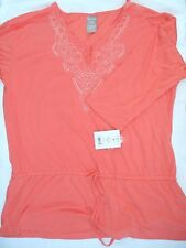 NWT! Women's White Stag WS Peplum Tunic Top Blouse Shirt XXL-20 Belted Coral NEW
