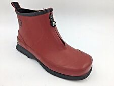 "Sorel Red Rubber Ankle Front Zip ""Rain Gauge"" Rain Boots Galoshes size 7 O6"