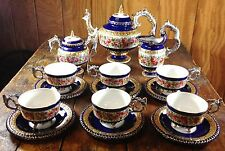 Limoges China Porcelain Victorian Style Cobalt Blue Gold Pink Roses Tea Set