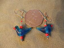 BLUE, CUTE GLASS BIRD EARRINGS, SILVER (925) HOOK FITTING