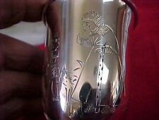 800 Silver Baby Cup with Engraved Pictures of Boy, goose, Cat & Fiddle