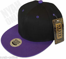 NEW PLAIN SNAPBACK CAP BLACK BASEBALL ERA HIP HOP RETRO FITTED FLAT PEAK HAT