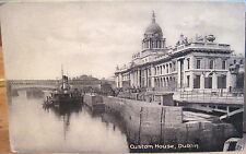 Irish Postcard CUSTOM HOUSE & Quay River Liffey Dublin Ireland Matte Lawrence