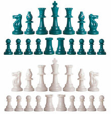 Staunton Single Weight Chess Pieces - Set of 34 Aqua & White - 4 Queens