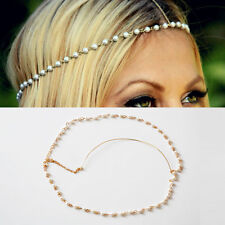 New Bohemian Women Metal Pearl Head Chain Forehead Headband Piece Hair band Gift