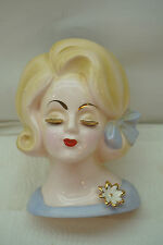 VINTAGE HEAD VASE LADY HEADVASE LAVENDER DRESS GOLD LASHES JAPAN BLONDE e