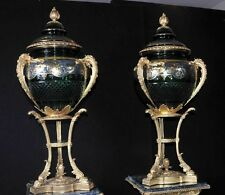 Pair French Louis XVI Glass Lidded Urns on Stands Vases Ormolu