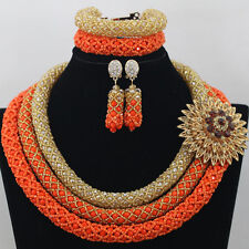 African Nigerian Orange & Gold Crystal Bead Jewelry Set