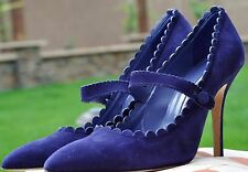 Authantic Manolo Blahnik  Scalloped Suede Mary Jane Pump Size 38 US 7.5 $775