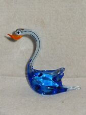 Blue & Clear Glass With An Orange Beak Swan Figurine