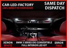 LED Iluminación de actualización Interior BMW E93 3 Series 2004-2012 18 Bombilla Xenon Blanco