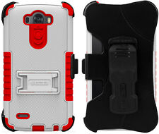 WHITE RED TRI-SHIELD KOMBO CASE SKIN COVER BELT CLIP HOLSTER STAND FOR LG G3