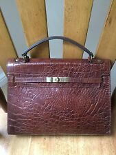 Vintage Mulberry brown Congo Nile leather Kelly large structured tote grab bag