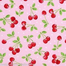 Novelty Cotton Fabric-Dots with Cherries Pink, F/Q or YRD