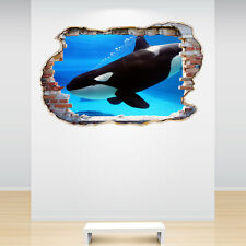 Orca Whale Smashed Wall Sticker 3D Decal Sea Under The Ocean Boys Bedroom