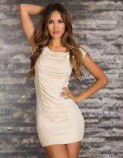 * ♥ * sexy cuerda mini vestido vestido Jersey weihnachtskleid talla 36/38 crema