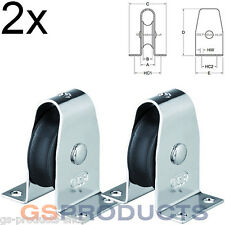 2x HS Sprenger Stainless Steel Stand Up Upright Pulley Block with Nylon Wheel