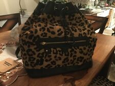New Womens Aqua Madonna Leather Backpack Purse Leopard Print Black NWT
