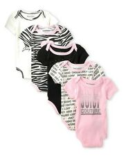 Juicy Couture Baby Girl 5 Piece Bodysuit Set ~Pink, Ivory, Black & Silver 3-6M