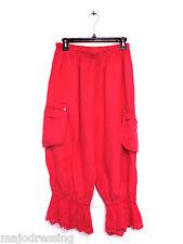Pantalon Pantacourt romantique brodé corail 100% lin Taille XL 42 44 46 com neuf