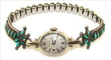 VINTAGE LADIES GIRARD-PERREGAUX 14K GOLD WATCH STER SILVER BAND TIPS Turquoise